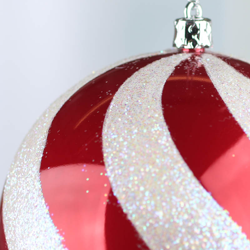 large sparkling candy cane swirl ball ornament