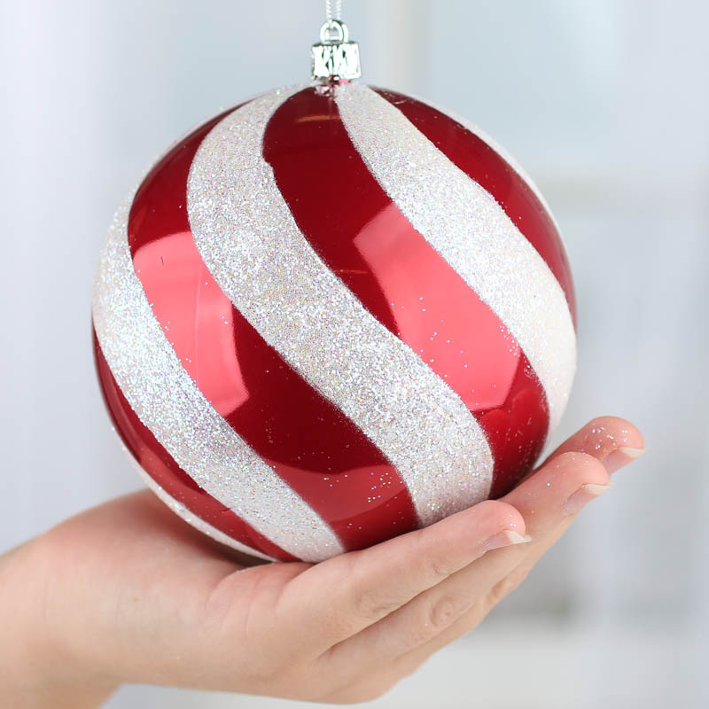 Large Sparkling Candy Cane Swirl Ball Ornament - Christmas ...