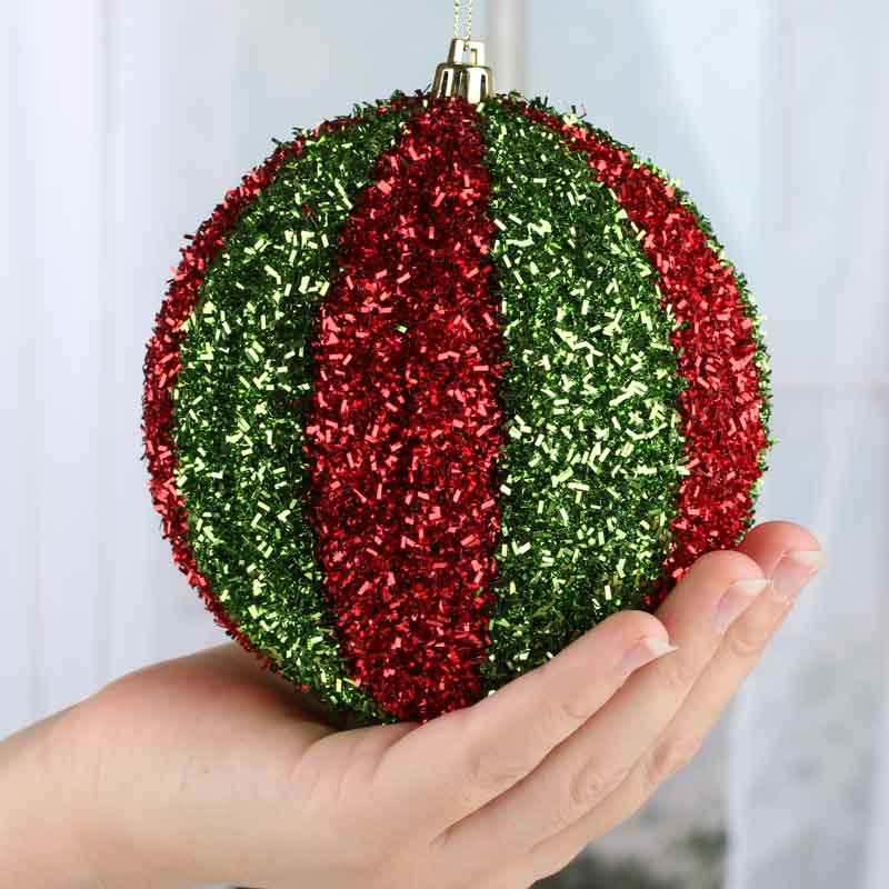 Grand sparkling tinsel christmas ball ornament
