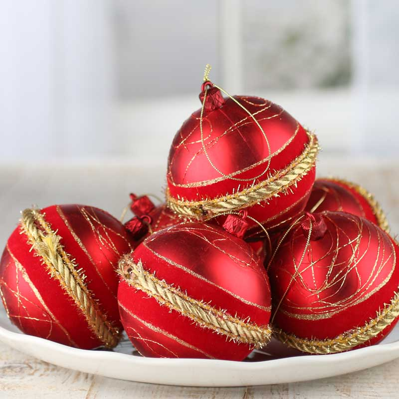 Red and Gold Vintage-Inspired Glass Ball Ornaments ...