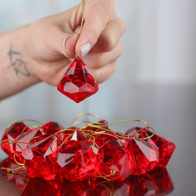 Red Acrylic Diamond Ornaments Christmas Ornaments