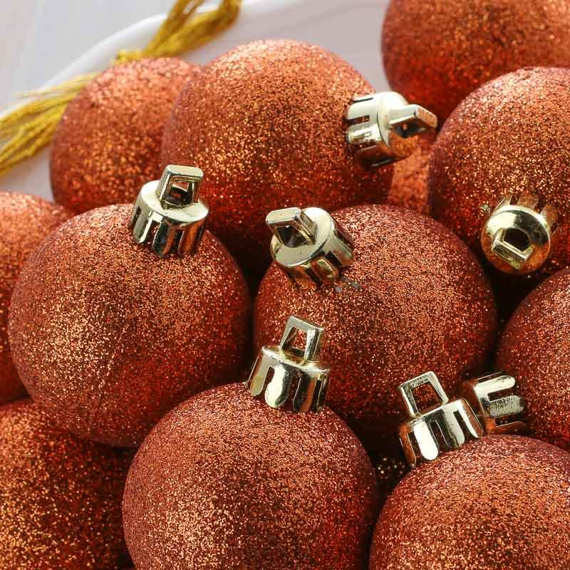 Copper Christmas Ornaments.Sparkling Copper Christmas Ball Ornaments
