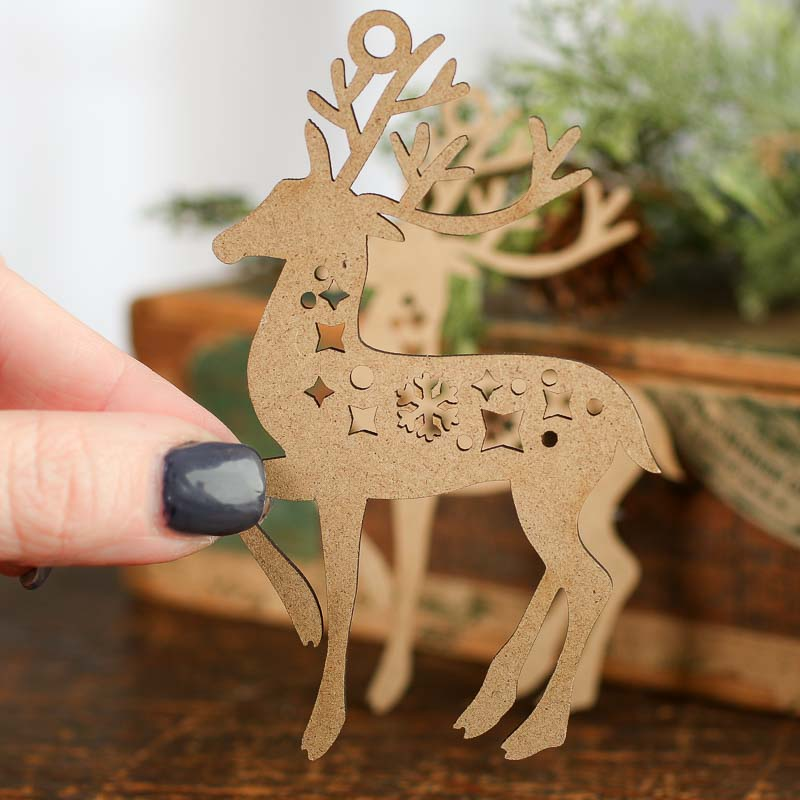 Unfinished Wood Laser Cut Reindeer Cutouts Christmas