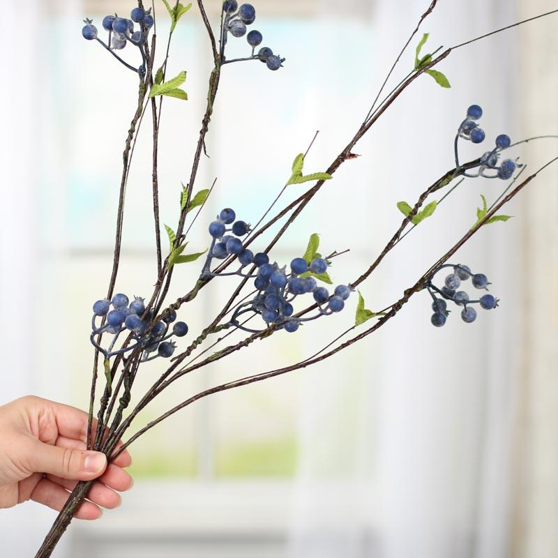 Popular Artificial Blueberry and Twig Branch Spray - Picks and Stems  HE25