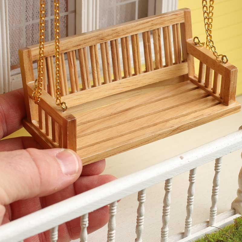 Excellent Dollhouse Miniature Wood Bench Porch Swing Short Links Chair Design For Home Short Linksinfo
