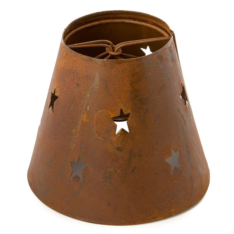 Rusty tin star cutout candle lamp shade lighting primitive decor click here for a larger view aloadofball Image collections