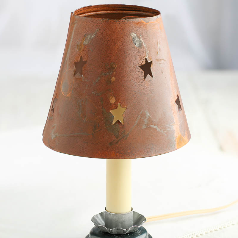 Candle Wall Lamp Shade : Rusty Tin Star Cutout Candle Lamp Shade - Lighting - Primitive Decor