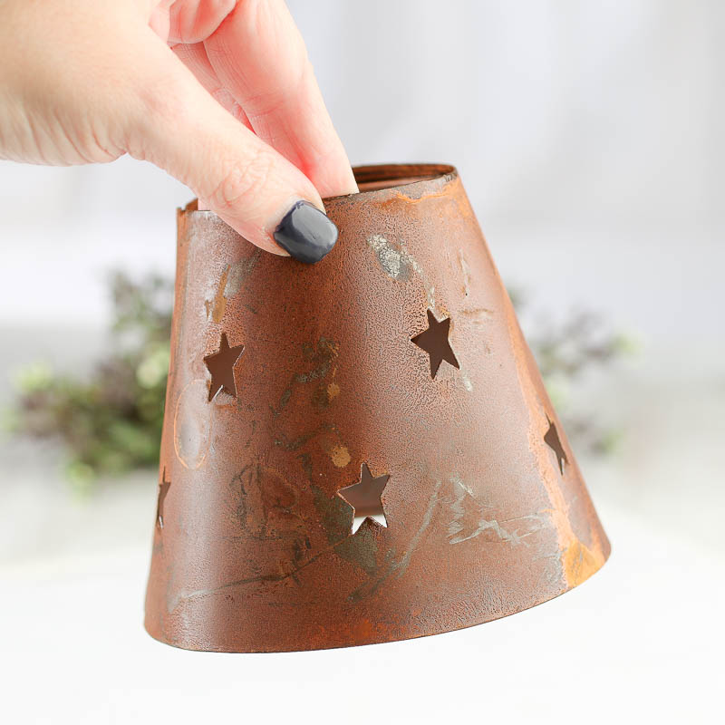 Rusty tin star cutout candle lamp shade lighting primitive decor compare size aloadofball Image collections