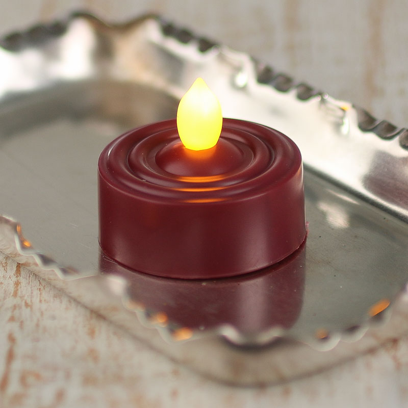 Burgundy Battery Operated Flickering Tea Light Candle