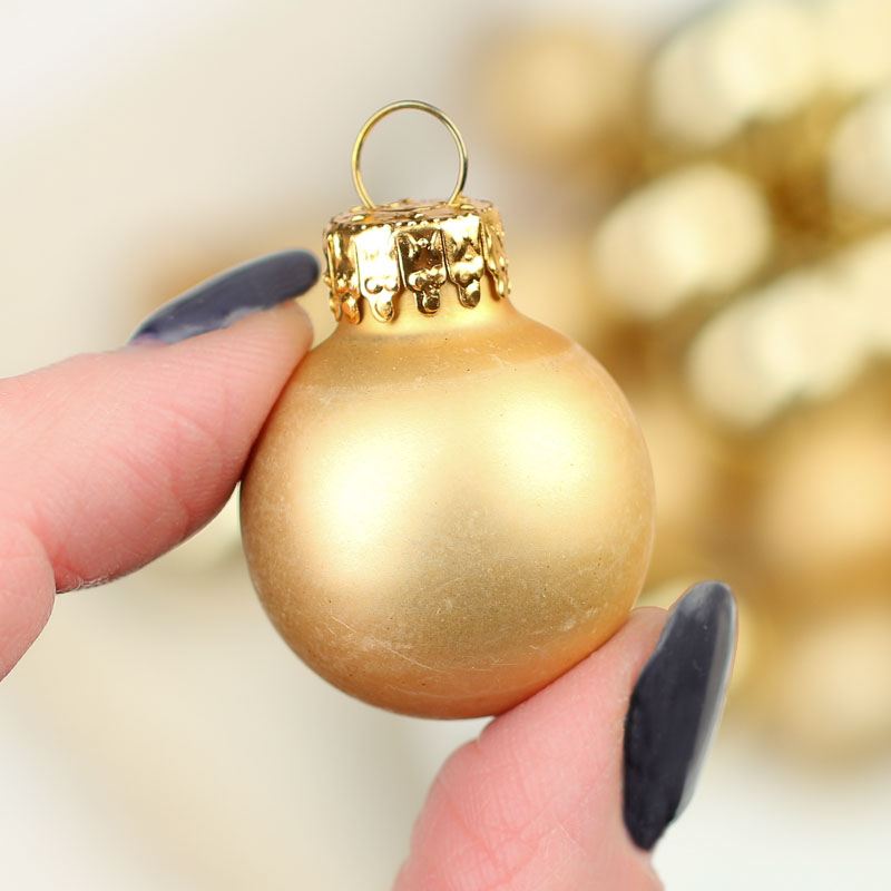 Miniature gold glass christmas ball ornaments christmas for Small gold christmas ornaments