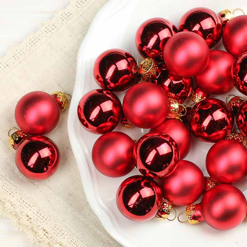 Miniature red glass christmas ball ornaments