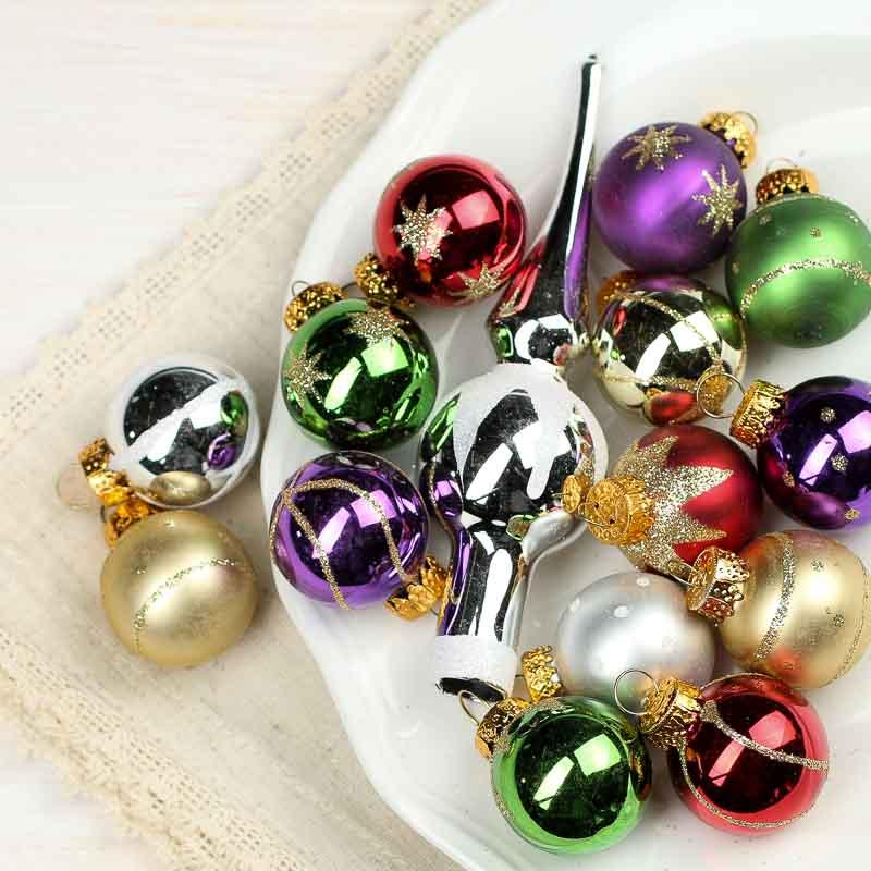 Assorted Miniature Glass Christmas Ornaments