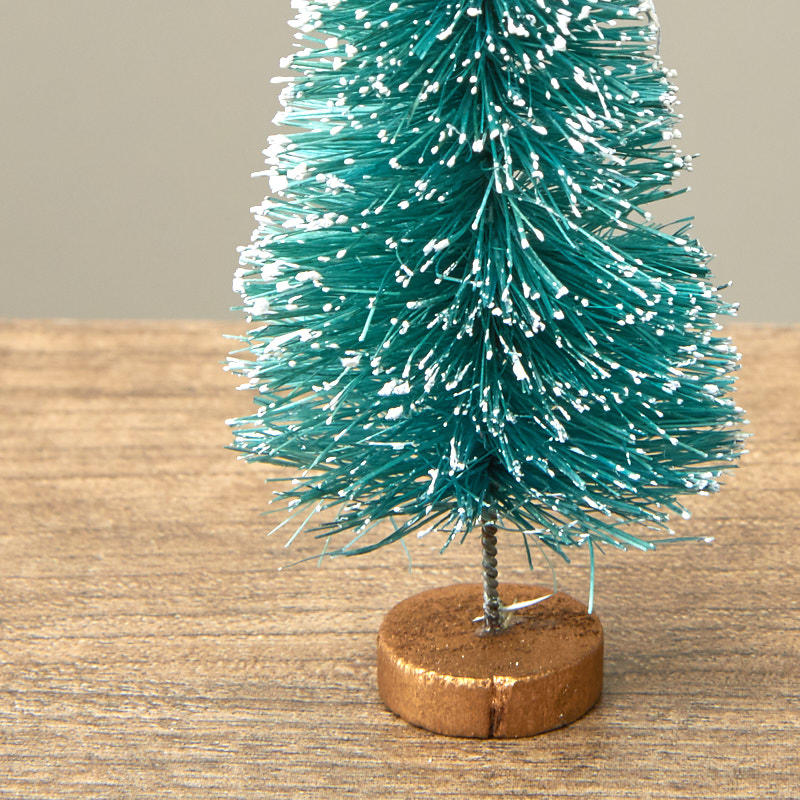 Small Frosted Ash Blue Bottle Brush Tree Christmas