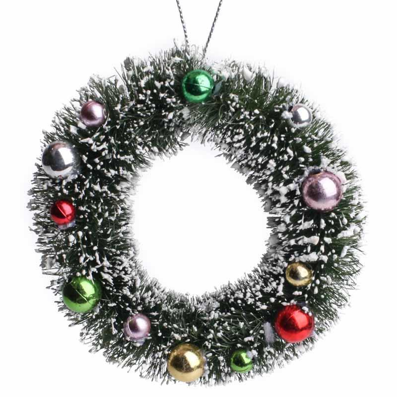 Small Christmas Wreaths.Miniature Decorated Frosted Sisal Christmas Wreath