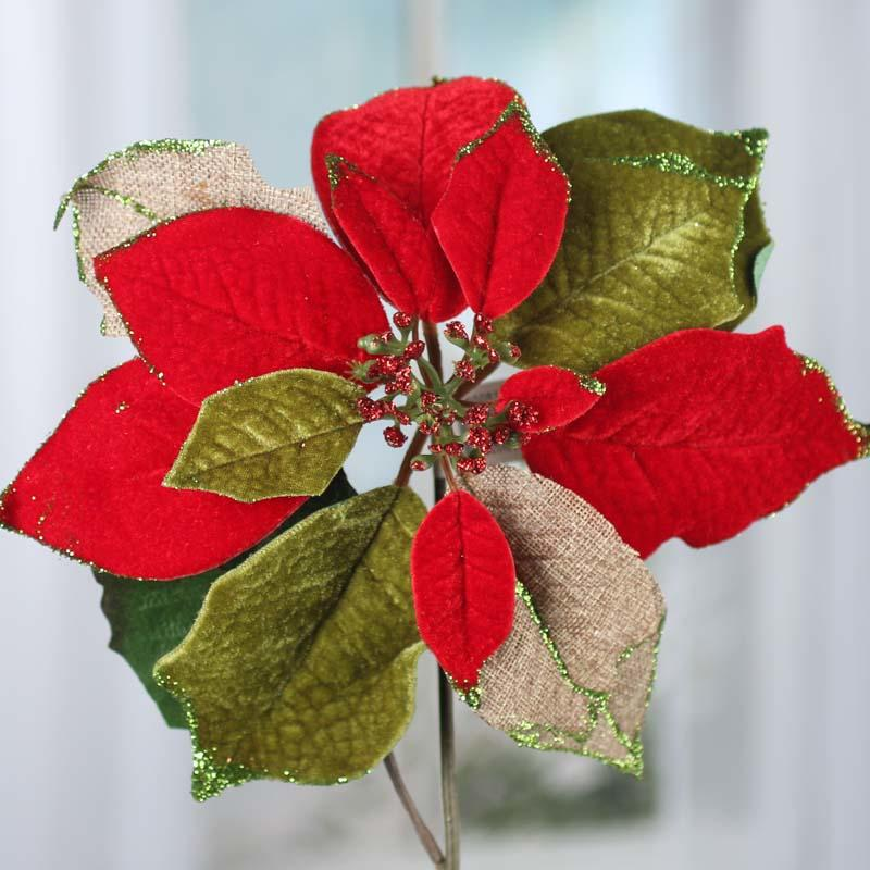 Sparkling Burlap And Velvet Artificial Poinsettia Stem Holiday Florals Christmas And Winter Holiday Crafts Factory Direct Craft