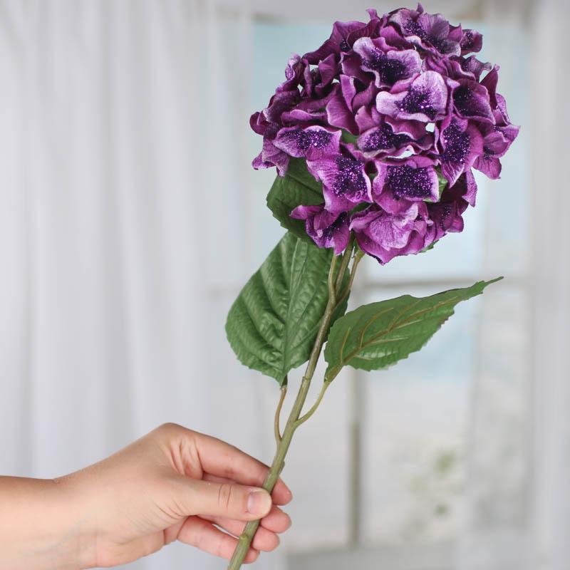 purple sparkling velvet artificial hydrangea stem