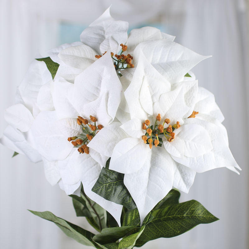 White Velvet Artificial Poinsettia Bush - Christmas Holiday Florals ...