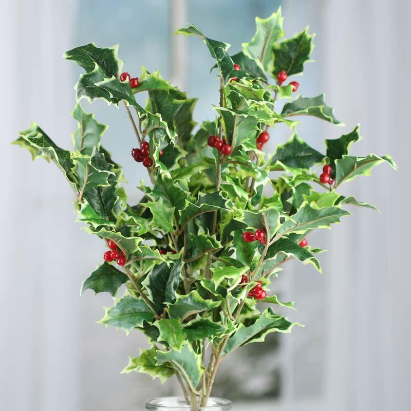 Variegated Artificial Holly Bush - Picks and Stems ...