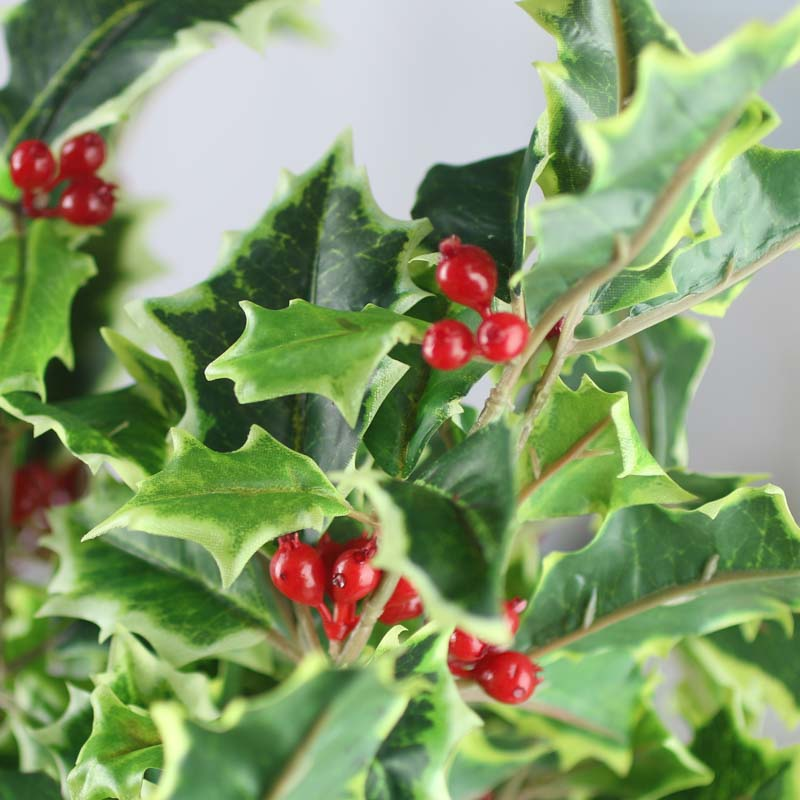 Variegated Artificial Holly Bush