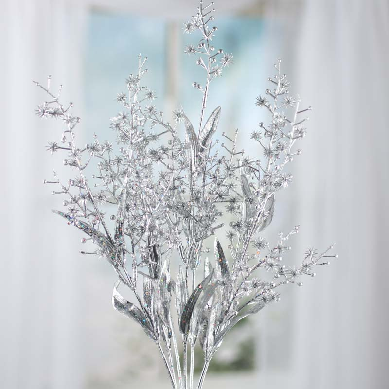 Silver Sparkling Artificial Spike Flower And Leaf Spray