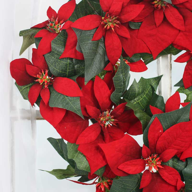 Red artificial poinsettia wreath wreaths floral for Craft wreaths for sale