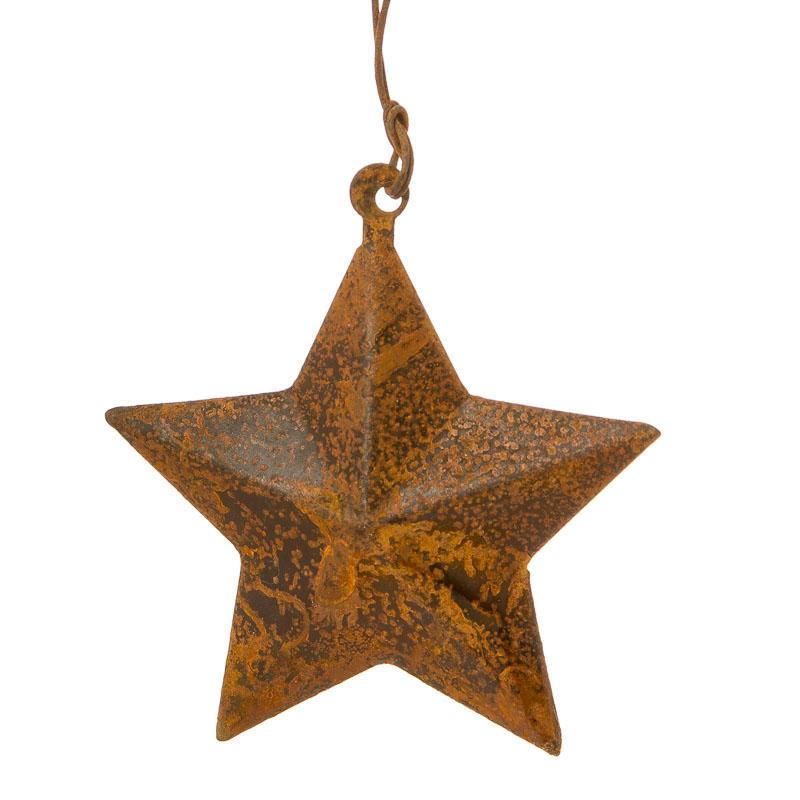 Rusty Tin Dimensional Star Ornament Barn Stars
