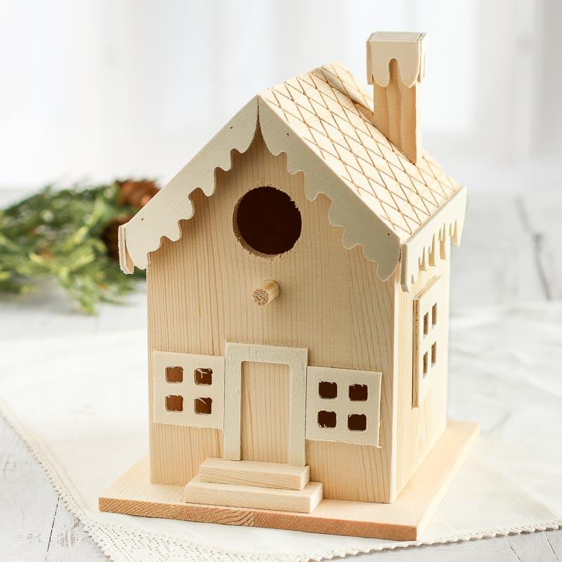 Christmas Birdhouses Crafts.Unfinished Wood Gingerbread Birdhouse