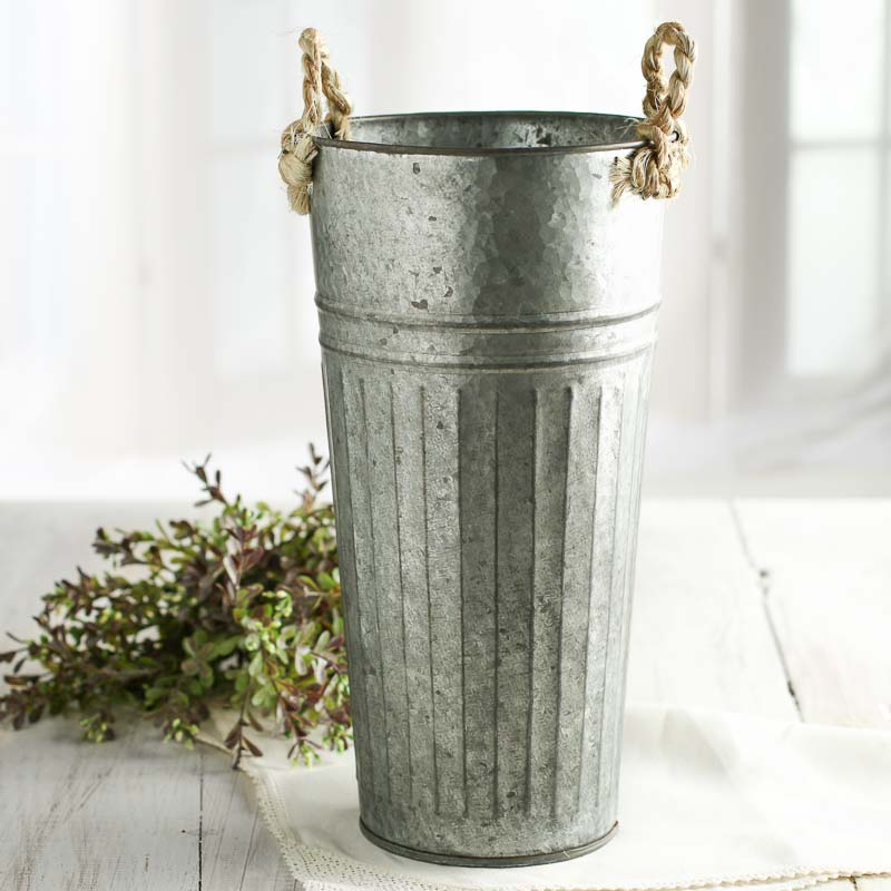 Galvanized french flower market bucket baskets buckets for How to decorate a bucket