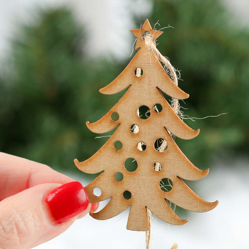 Unfinished Wood Laser Cut Christmas Tree Ornaments New Items