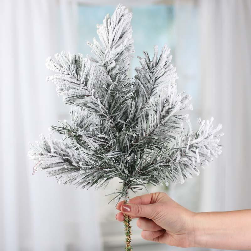 Christmas Spray 16 Snowy Pine Spray Flocked Pine Winter Pine Winter Greenery Snowy Greenery The Blue Hutch 1083 Christmas Decor