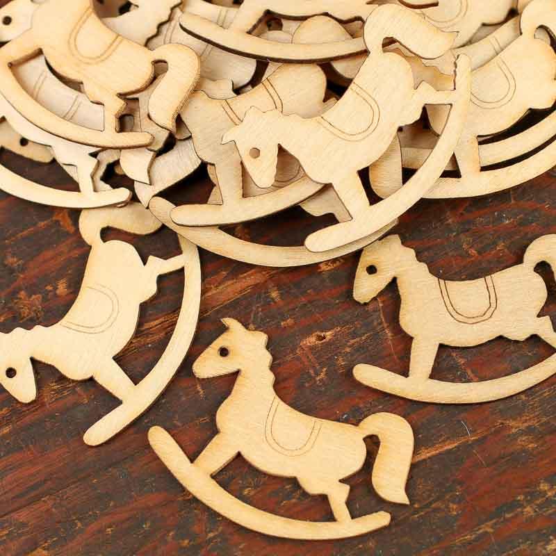 Unfinished Wood Laser Cut Rocking Horse Cutouts - Wood