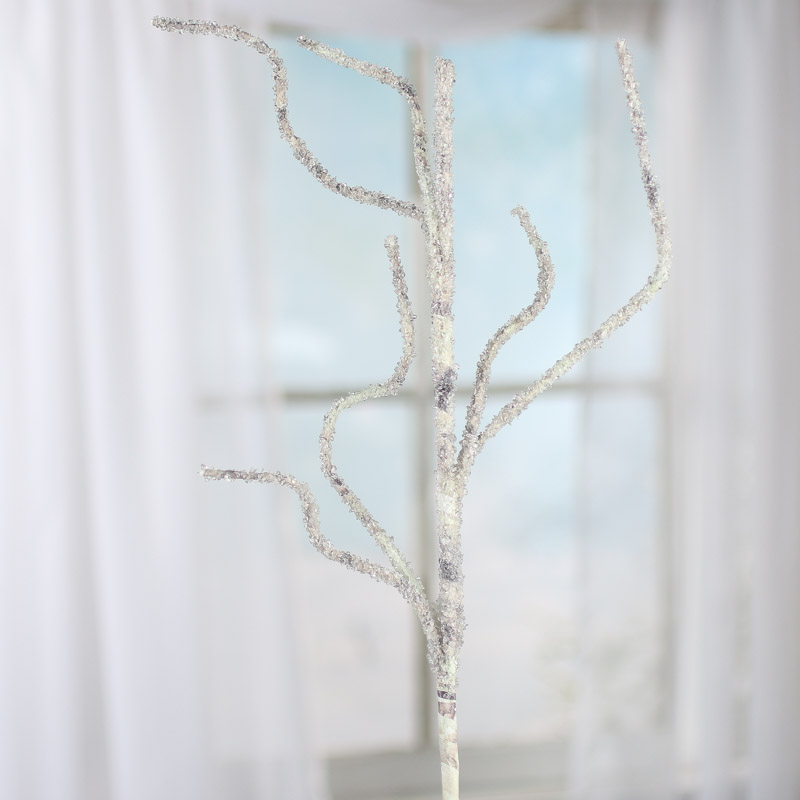 Icy Artificial Willow Twig Branch