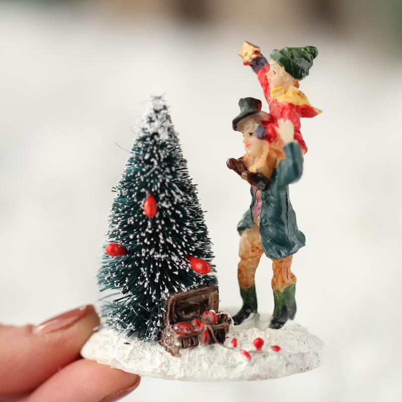 Miniature Topping The Tree Christmas Figurine Table