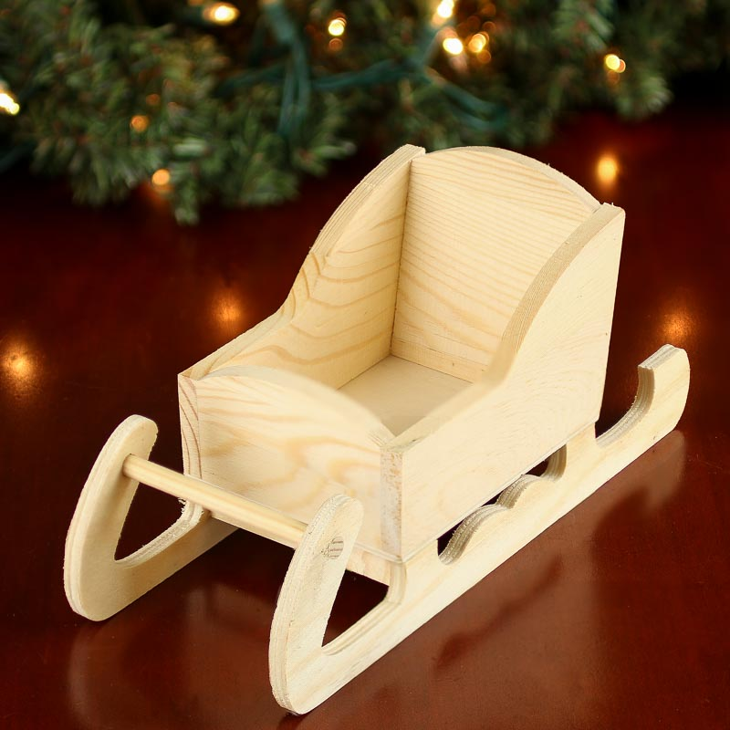 unfinished wood sleigh - doll making supplies