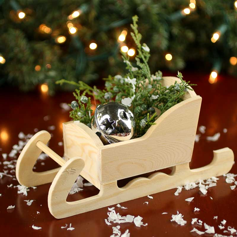 Unfinished Wood Sleigh Holiday Craft Supplies