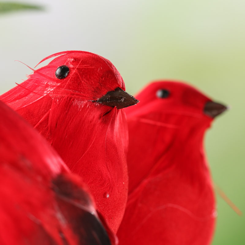 Plump red woodland artificial birds artificial birds and for Fake birds for crafts