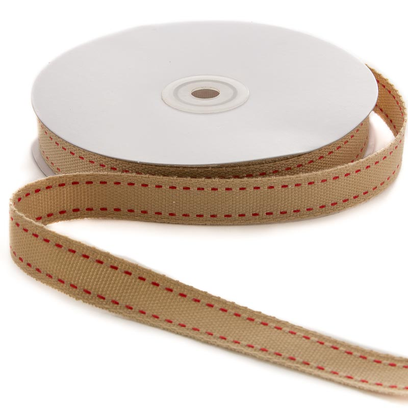 Red stitched faux burlap ribbon ribbon and trims craft for How to use burlap ribbon