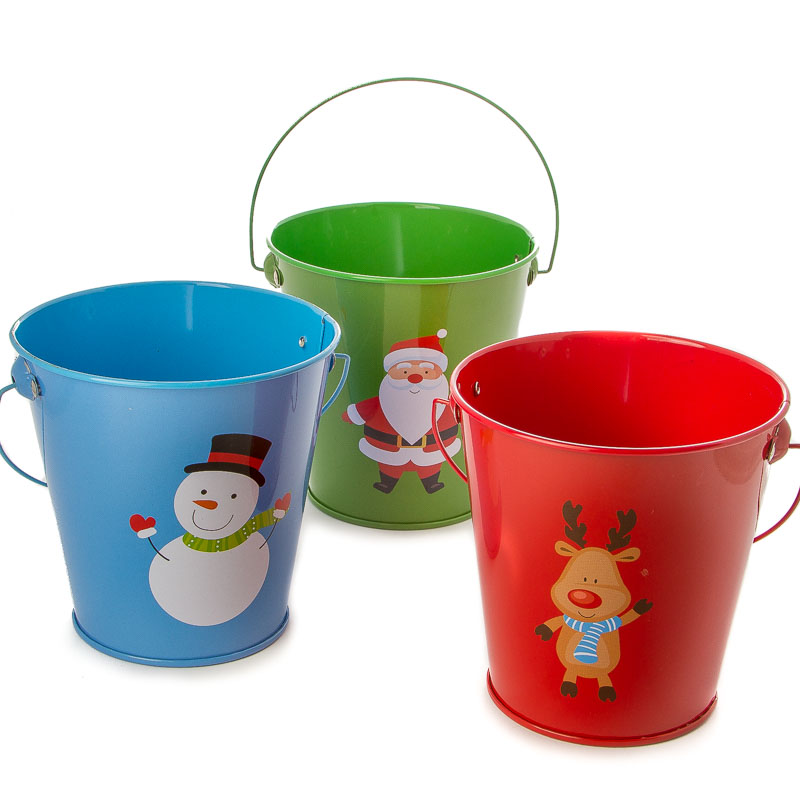 Small metal christmas pail new items for Christmas tin pails