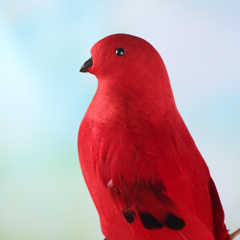 Red flocked artificial bird birds butterflies basic for Fake birds for crafts