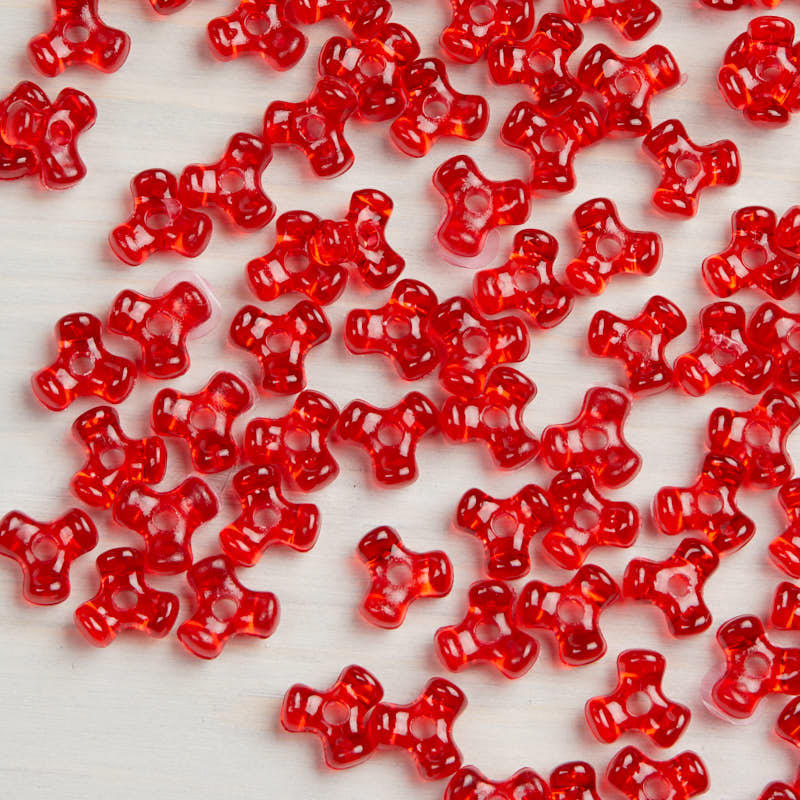 Kid Craft Beads: Red Translucent Tri Beads