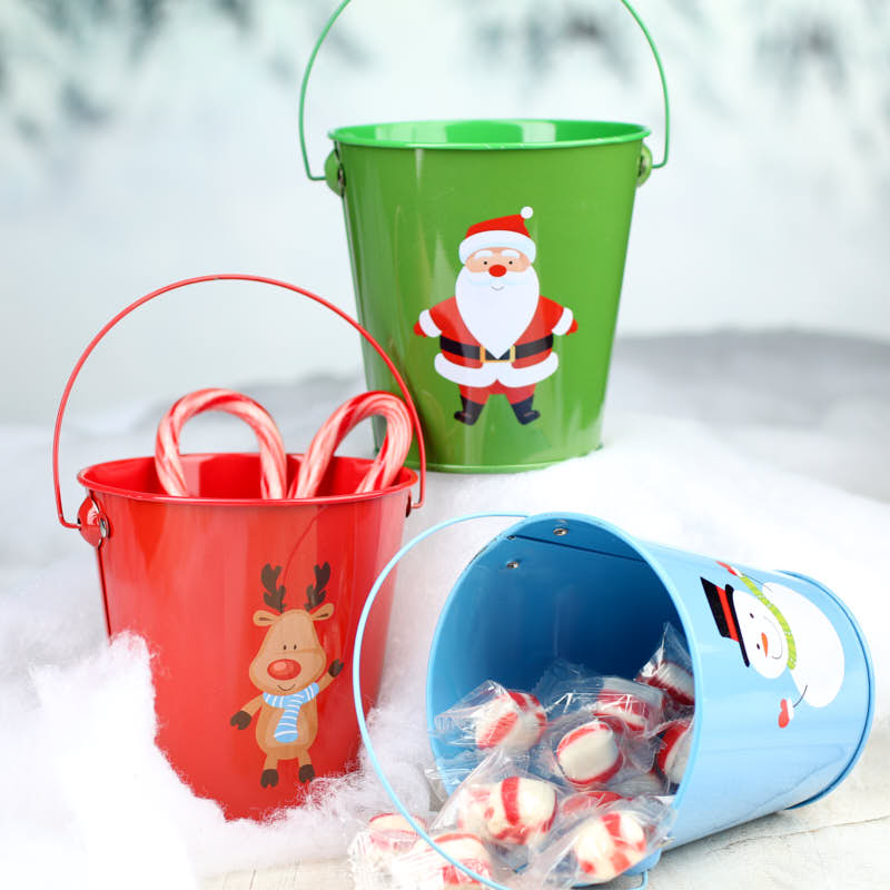 Small metal christmas pail christmas and winter sale sales for Christmas tin pails