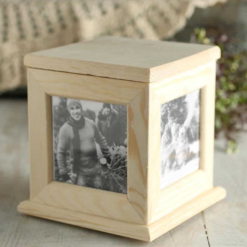 Unfinished wood photo keepsake box wood craft kits for Wood craft supply stores