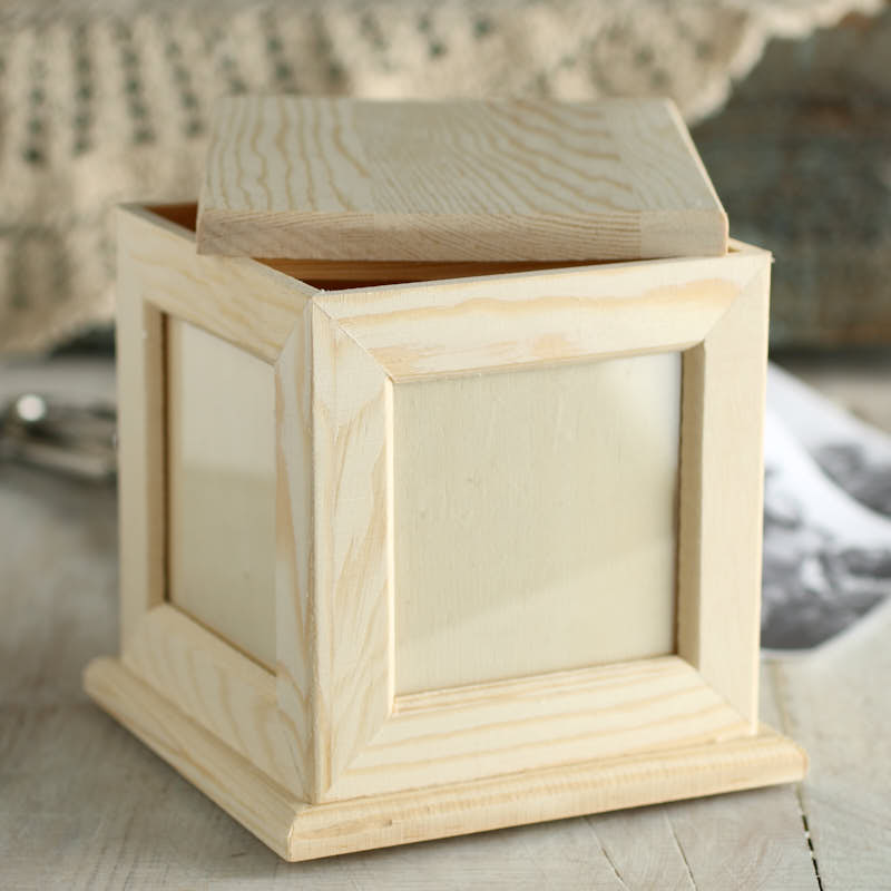 Unfinished wood photo keepsake box wood craft kits for Wooden craft supplies online