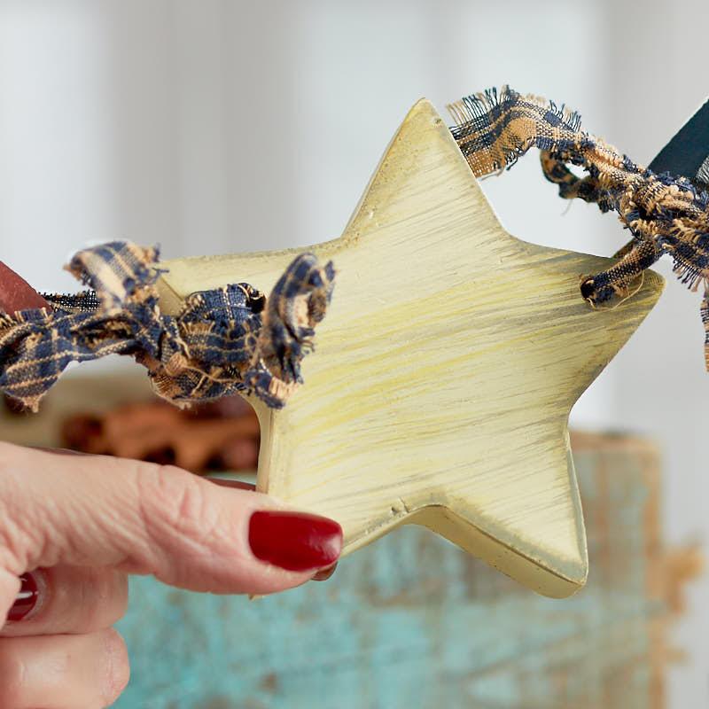 Primitive Americana Wood Star Garland - Americana Decor - Home Decor