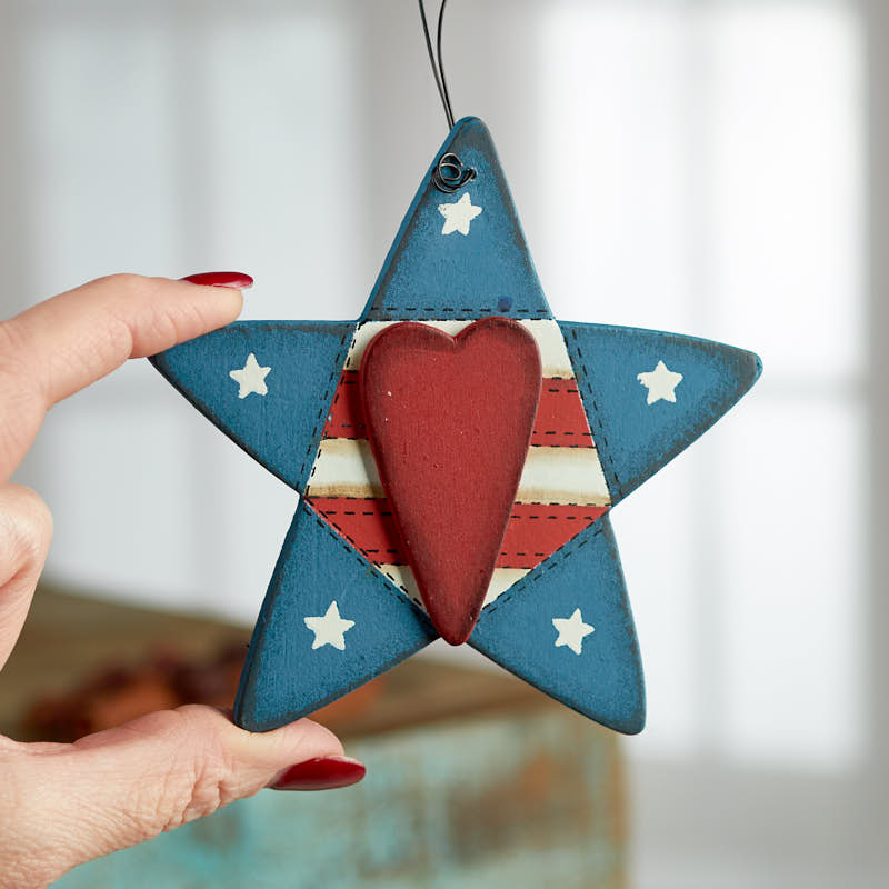 Primitive stitched americana star ornament christmas for Americana crafts to make