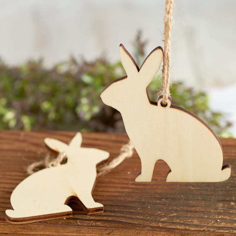 Unfinished Wood Laser Cut Bunny Ornaments Wood Cutouts Wood