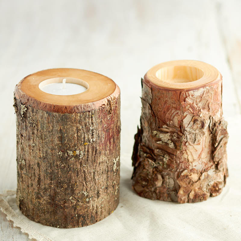 Natural Wood Tea Light Candle Holder Candles And
