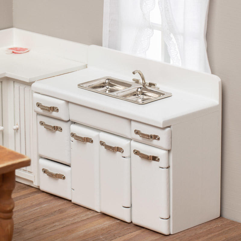 Dollhouse Miniature Kitchen Sink And Cabinets Kitchen Miniatures