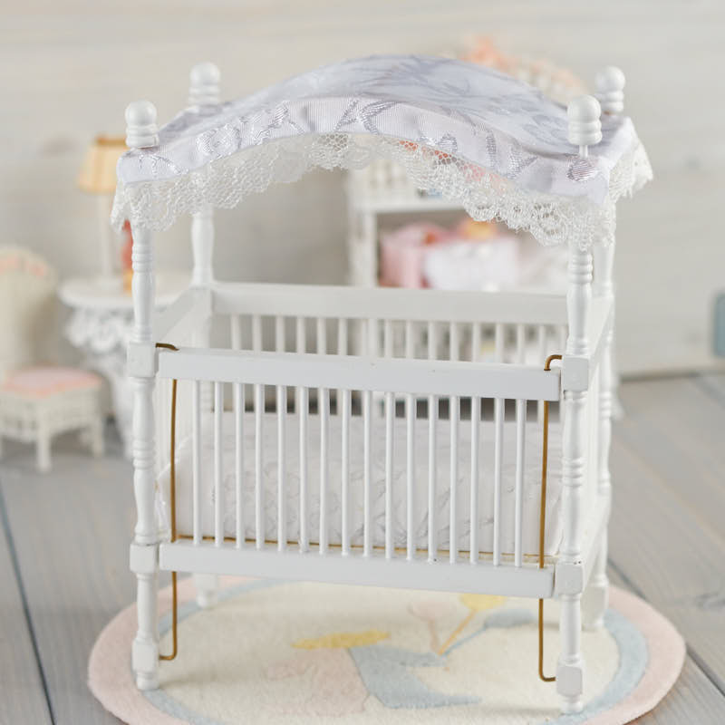 Dollhouse miniature white canopy baby crib nursery for White canopy crib