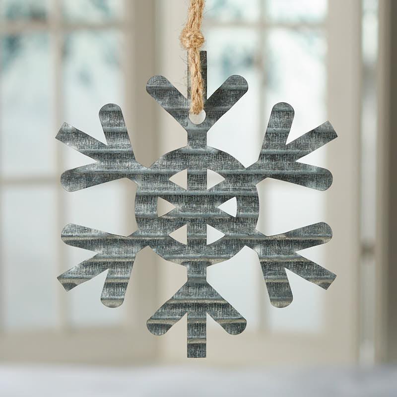 Corrugated galvanized metal snowflake ornament rusty tin